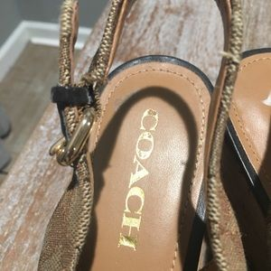 Coach cork wedge shoes